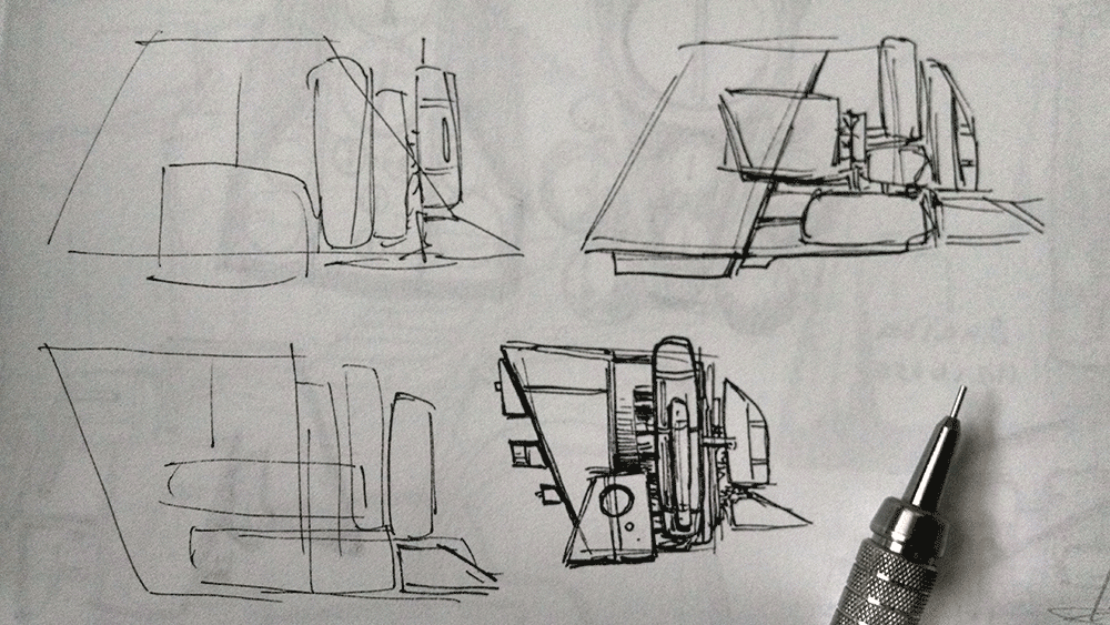 Small drawings of spaceships.